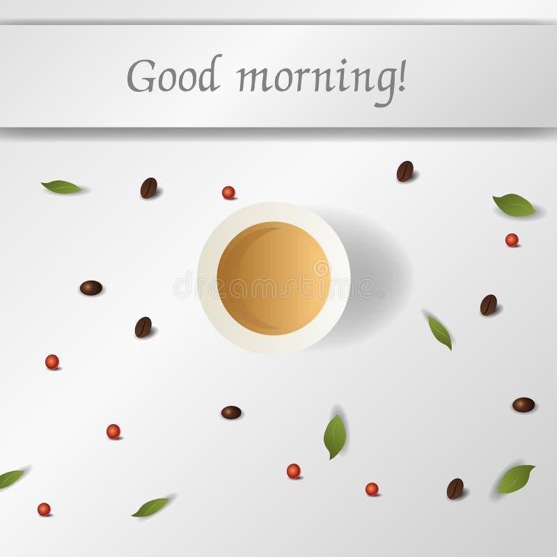 Gutenmorgen mit Kaffee Vektor lizenzfreies stockfoto