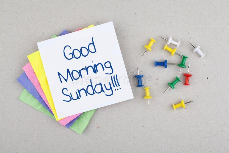 Gutenmorgen-Sonntags-Anmerkung stockfotografie