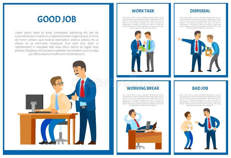 Guter Job der Arbeitskraft, Chef Praising Employee Poster vektor abbildung