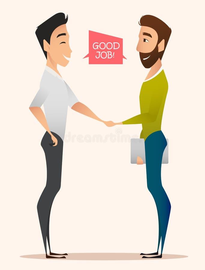 Guter Job! Zwei Geschäftsmänner, die Hände nach dem erfolgreichem Vertragsunterzeichnen oder Fertigstellung des rentablen Projekt lizenzfreie abbildung