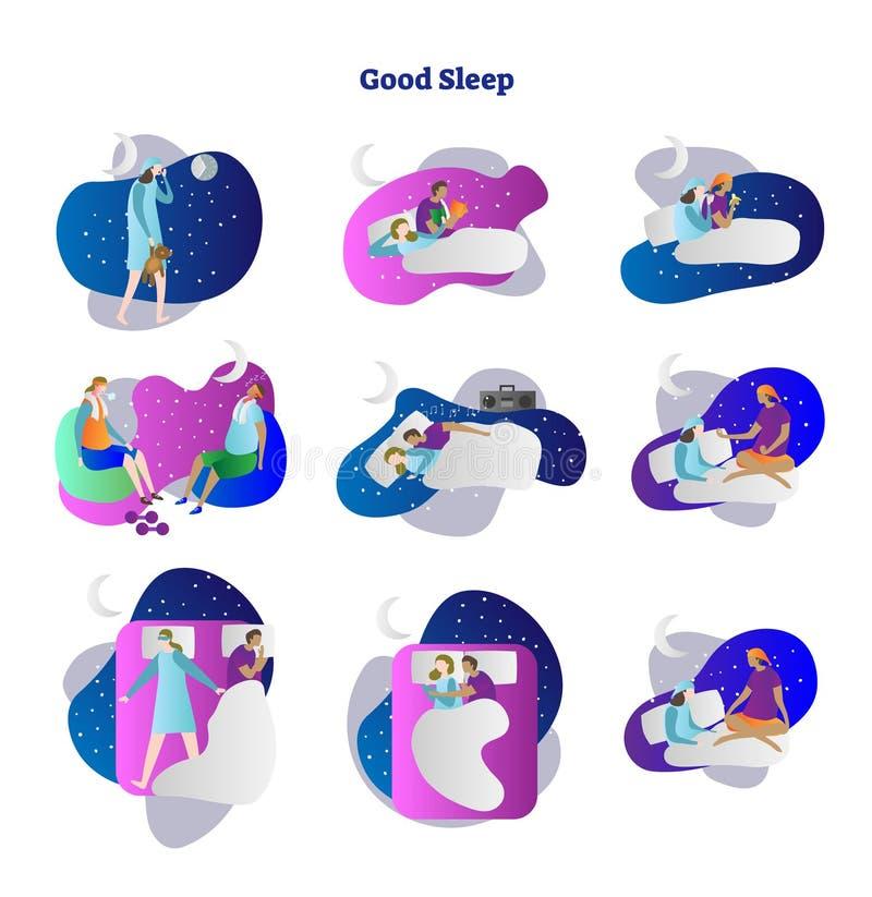 Guter oder schlechter Schlafvektorillustrations-Sammlungssatz Beispiele der Schwarzarbeit, lesen, trainieren, Musik und Yoga Schl vektor abbildung