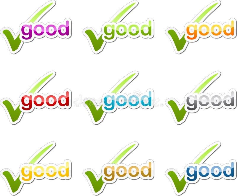Guter Prüfzeichenbeweggrundaufkleber vektor abbildung