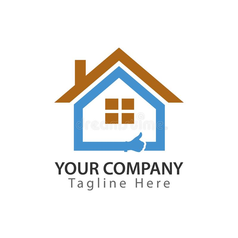 Gutes Haus Abstraktes Hauslogo - blaues Haus mit dem Daumen lizenzfreie abbildung