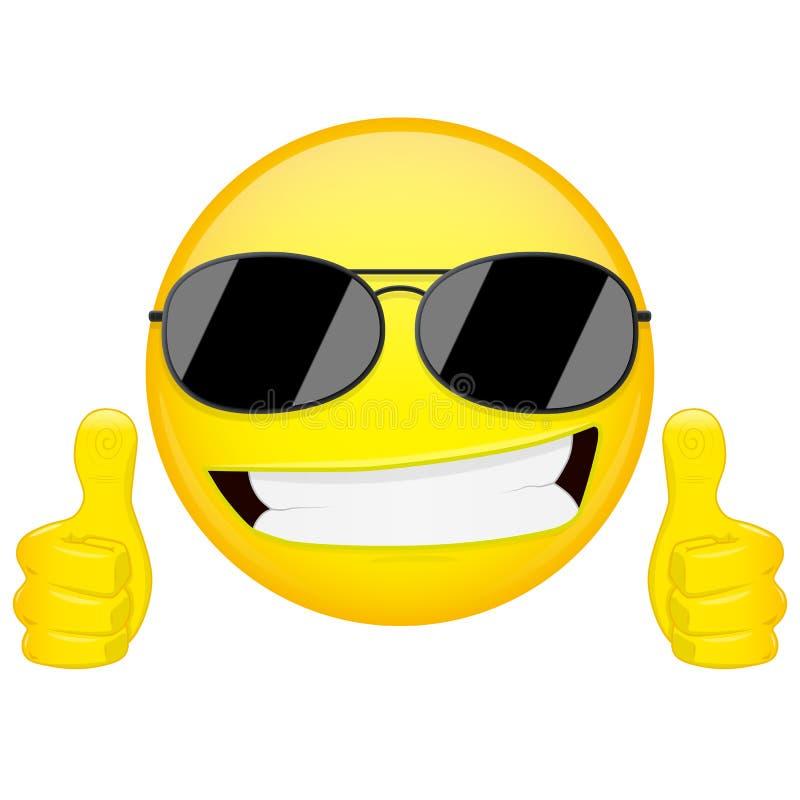 Gutes Idee emoji Daumen up Gefühl Kühler Kerl mit Sonnenbrille Emoticon Vektorillustrations-Lächelnikone lizenzfreie abbildung