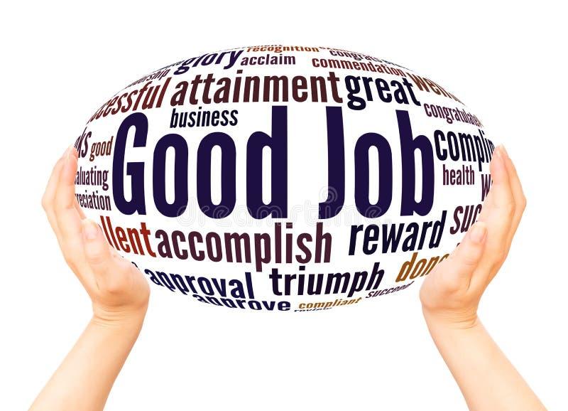 Gutes Jobwortwolkenhandbereichkonzept stock abbildung