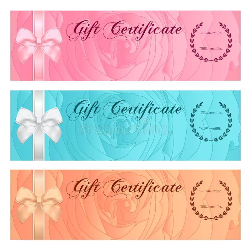 Gutschein-, Beleg-, Kupon-, Belohnungs- oder Gutscheinschablone mit rosafarbenem mit Blumenmuster, Bogen (Band) Rosen-Blumenhinte vektor abbildung