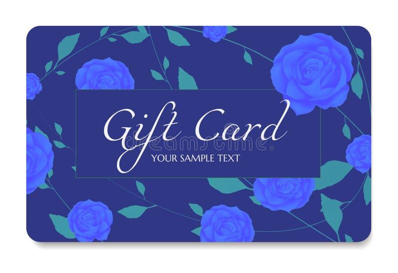 Gutschein-, Geschenkkupon, Rabattkarte, Geschenkgutschein mit Blumen Rosen und grüne Blumenblätter kopieren Rahmen, Goldbogenband vektor abbildung