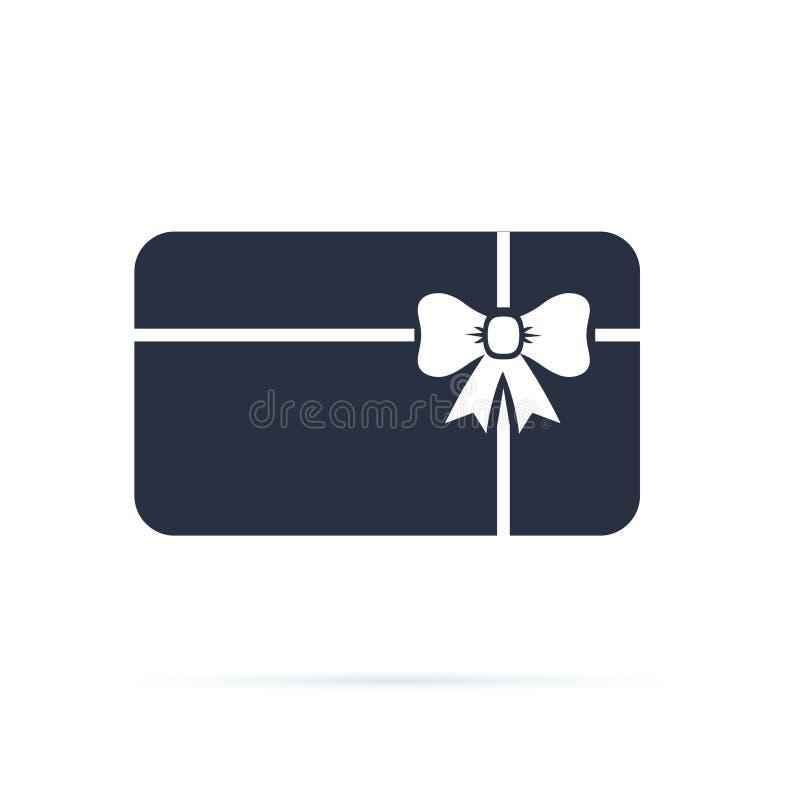 Gutschein-Ikone Anwesende Karte mit Band und Bogen Feste Ikone Sonderangebotzeichen, Promokarte Anwesendes Geschäft sertificate lizenzfreie abbildung