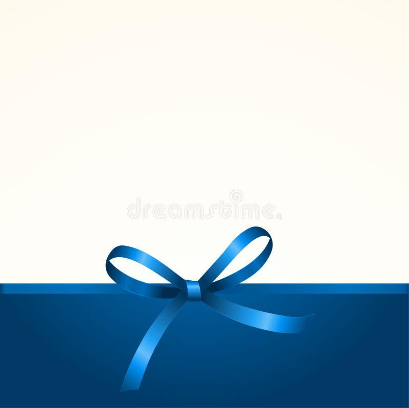 Gutschein mit glänzendem blauem Satin-Geschenk-Bogen stockfotografie