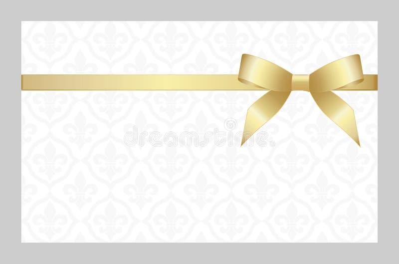 Gutschein mit goldenem Band und einem Bogen Einladung - Vektorbild lizenzfreie stockfotos
