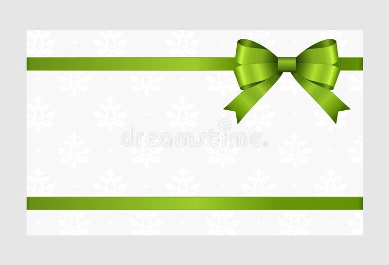 Gutschein mit grünem Band und einem Bogen lizenzfreie stockfotografie