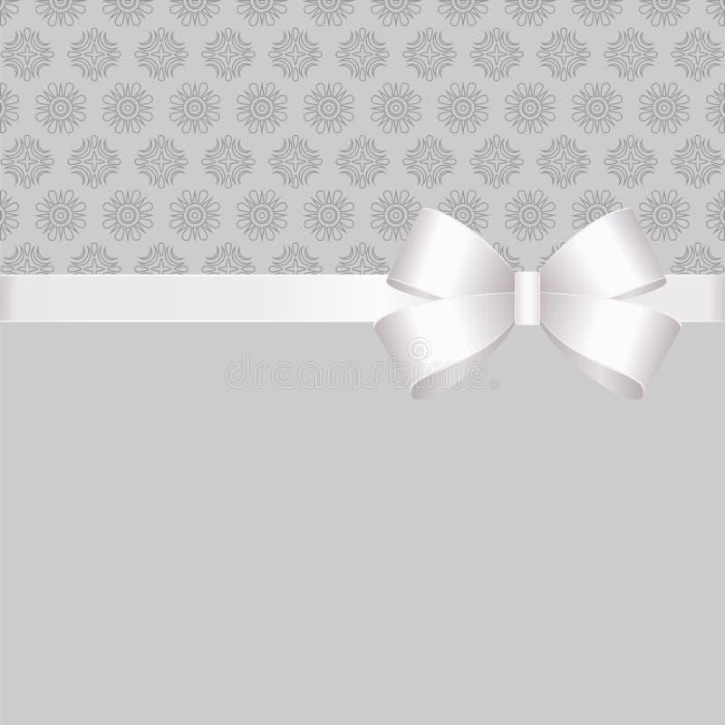 Gutschein mit weißem Band und ein Bogen auf grauem Hintergrund Geschenkgutschein-Schablone mit Platz für Text vektor abbildung