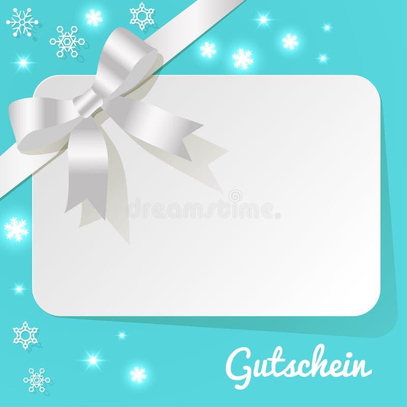 Gutschein mit weißem Perlenband auf einem Türkishintergrund und -schneeflocken lizenzfreie abbildung