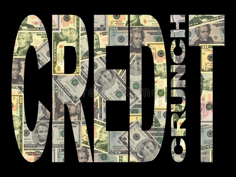 Gutschrift-Knirschen mit amerikanischen Dollar stock abbildung