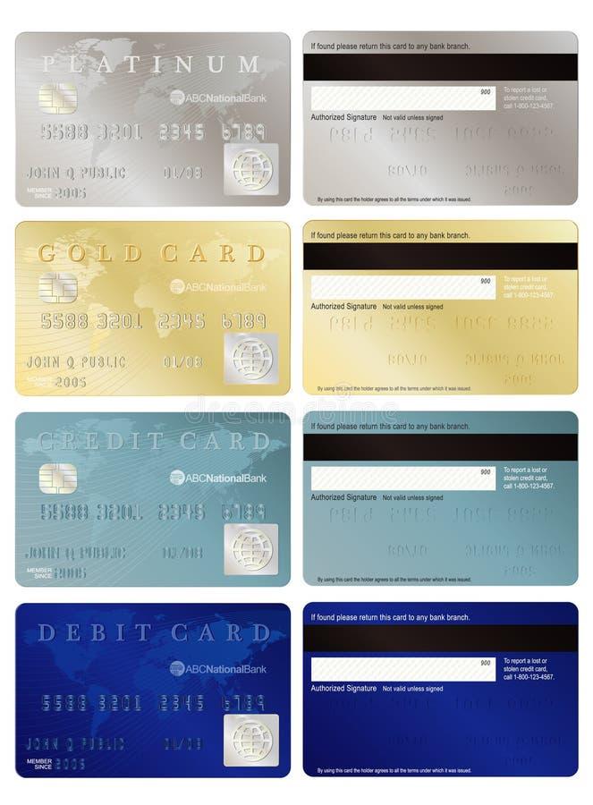 Gutschrift und Debitkarten vektor abbildung
