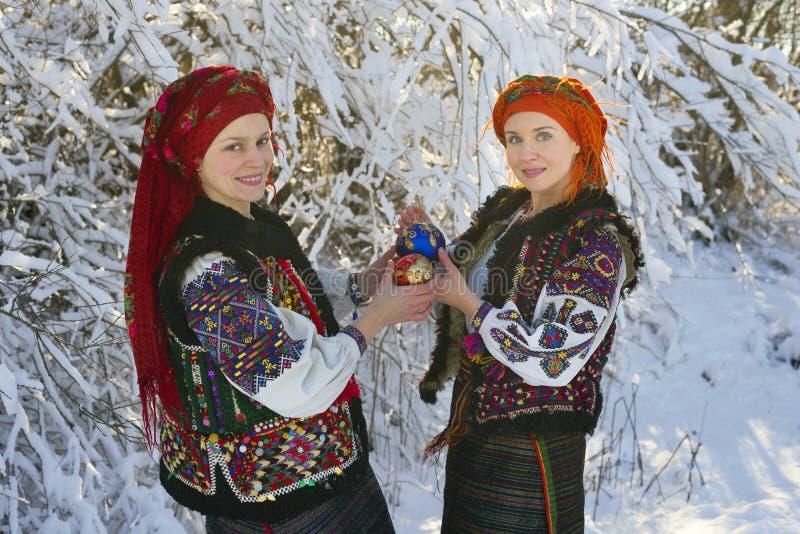 Gutsulka onder de wintersneeuw stock afbeeldingen