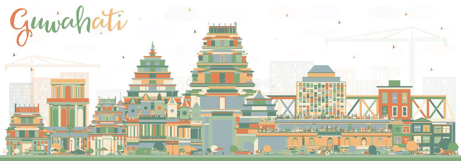 Guwahati India City Skyline with Color Buildings. Vector Illustration. Business Travel and Tourism Concept with Historic Architecture. Guwahati Cityscape with royalty free illustration
