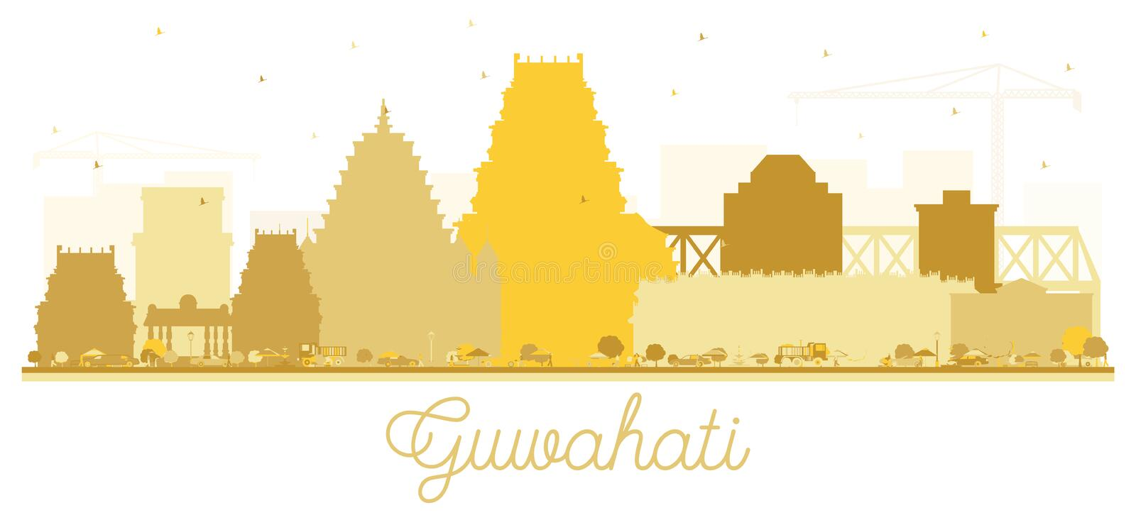 Guwahati India City Skyline Silhouette with Golden Buildings. Vector Illustration. Business Travel and Tourism Concept with Historic Architecture. Guwahati stock illustration
