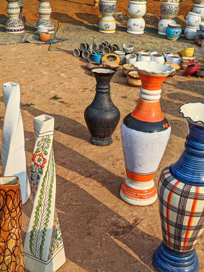 Guwahati, India - March 19, 2020: Street side pottery with artistic design and creative shapes. stock image