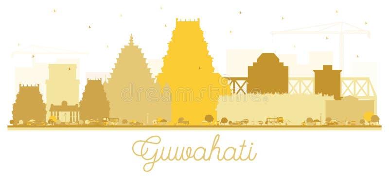 Guwahati India miasta linia horyzontu sylwetka z Złotymi budynkami ilustracji