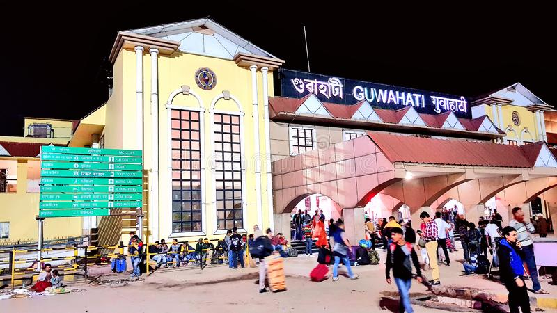 Guwahati railway station. Crowd of travellers at Guwahati railway station, the capital city of Assam, one of the important town of north-east India stock image
