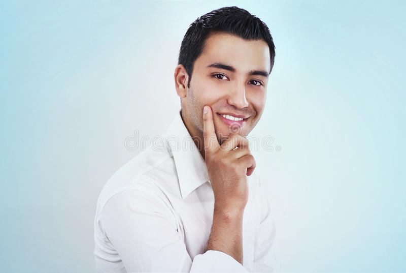 Guy. Portrait of a gorgeous businessman, isolated - studio shot stock photo