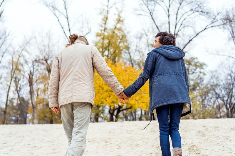 Guy with an african american girl in love in autumn park walk at sunset stock photography