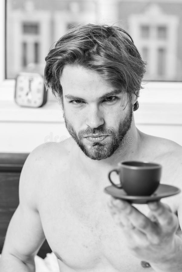Guy attractive appearance man enjoy hot fresh brewed coffee. First thing in morning. Best time to have your cup of stock photo