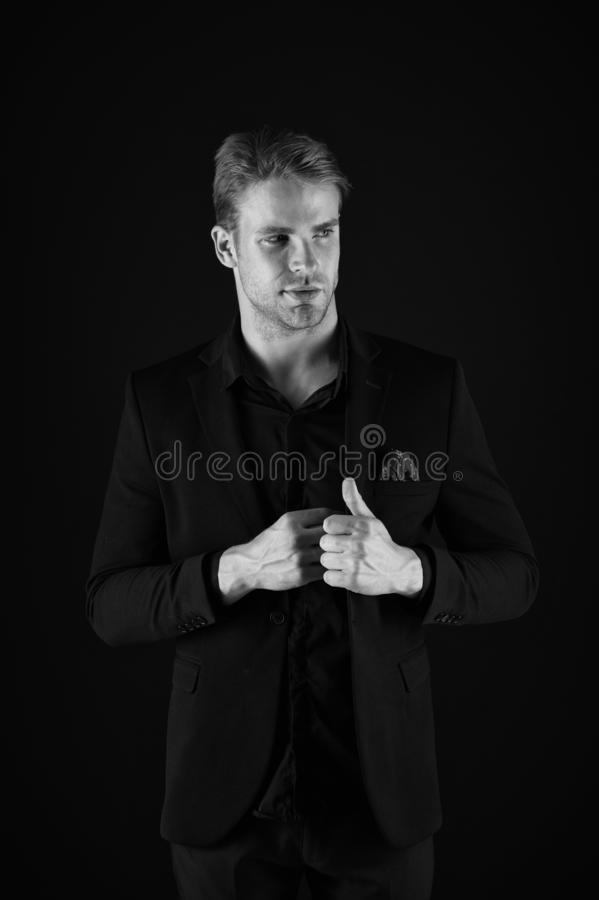 Guy attractive confident model. Confident in his style. Man in dark clothes. Casually handsome. Man handsome well royalty free stock photos