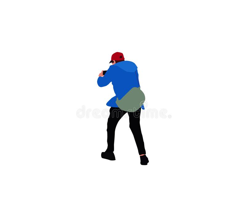 Guy with a backpack behind his back makes photo using a smartphone stock illustration