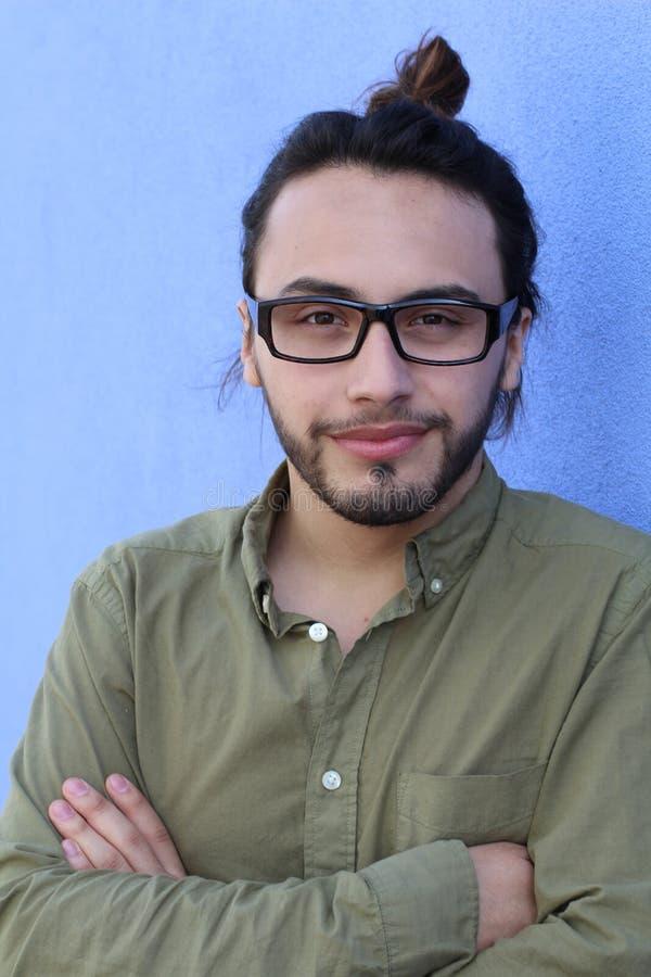 Guy Beard Glasses Portrait Casual för mode för manHipsterstil person arkivbilder
