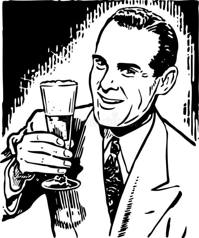 Guy With Beer retro ilustración del vector