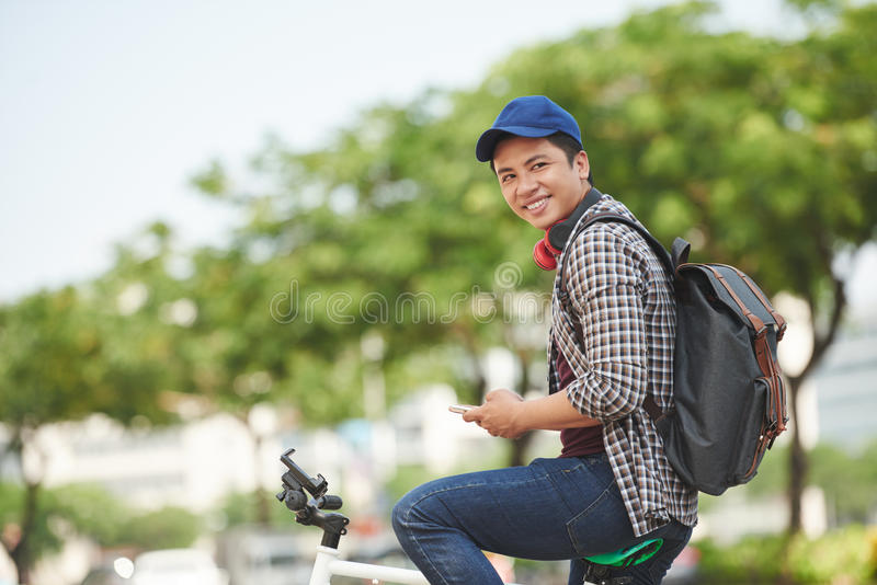 Guy on bicycle royalty free stock images
