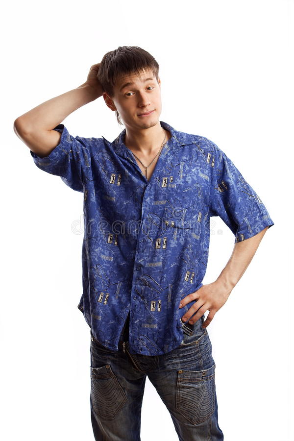 Download Guy In The Blue Shirt Series Royalty Free Stock Photography - Image: 18023487