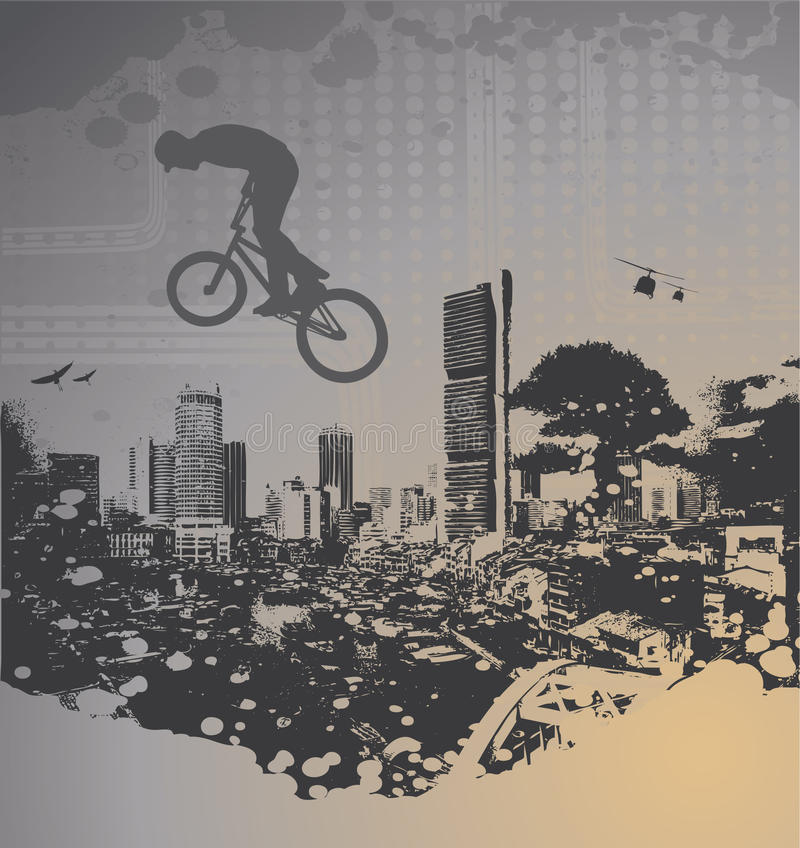Guy with bmx. On city landscape with splash stock illustration
