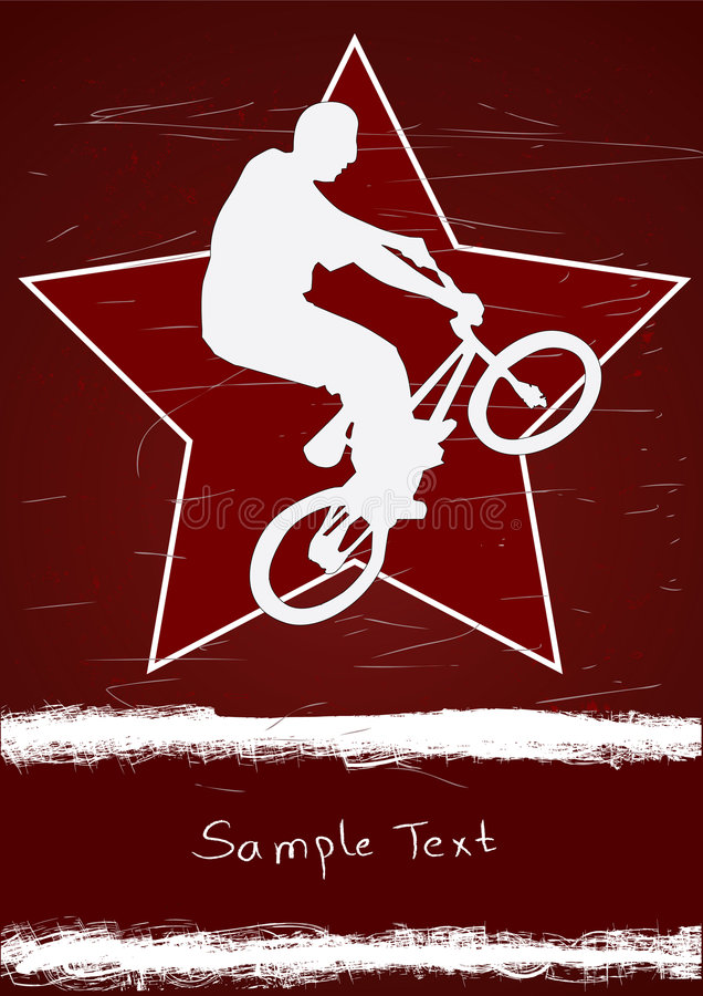 Guy on a bmx and star. Guy on a bmx and red star stock illustration