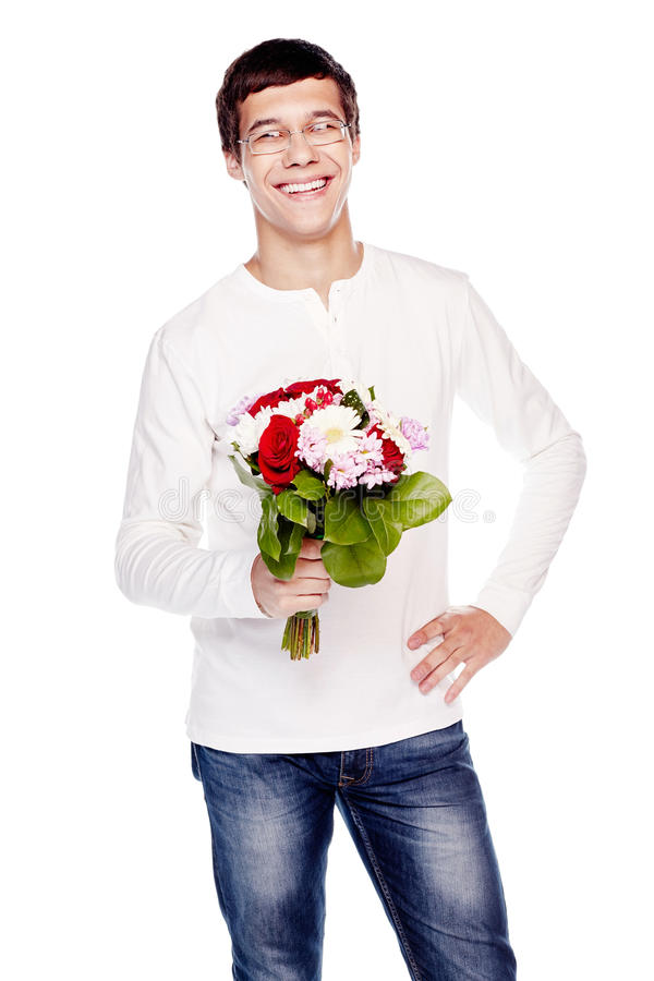 Guy With Bouquet Of Flowers Stock Photo - Image of bouquet ...