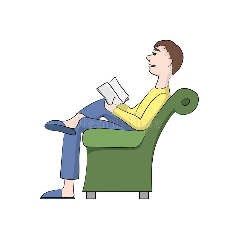 Guy, boy man is reading a book in the chair. Vector color illustration. vector illustration