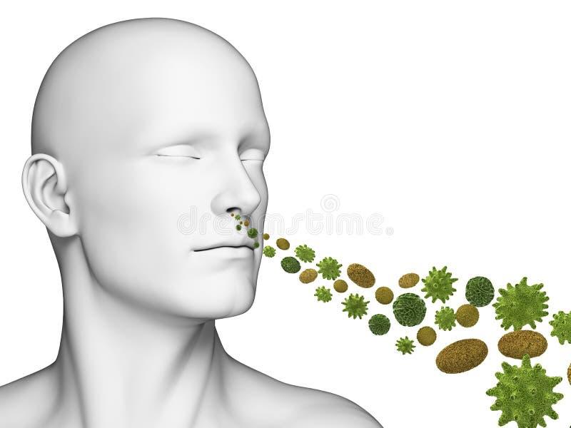 Guy breathing pollen stock illustration