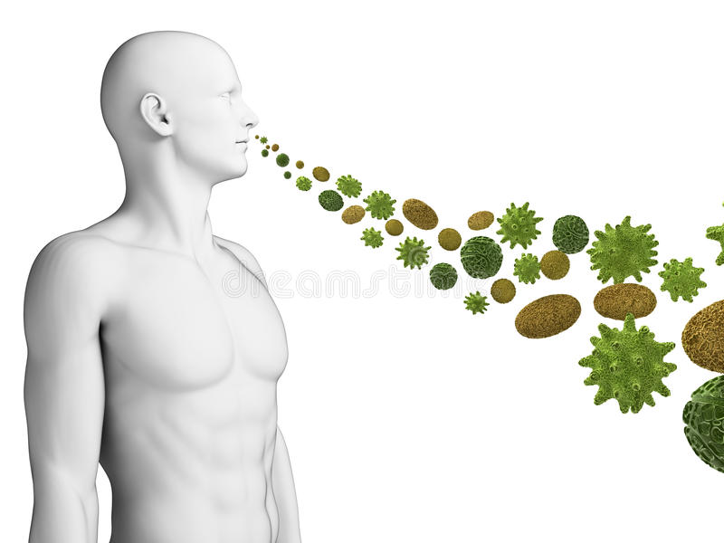 Guy breathing pollen vector illustration