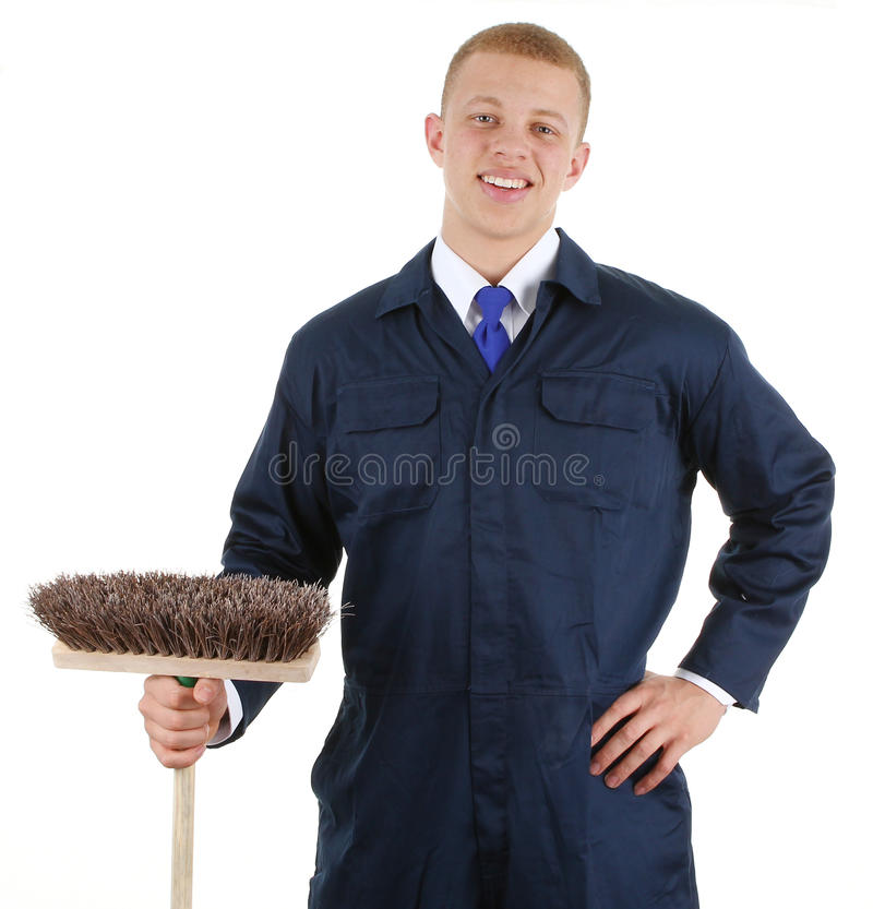 Download Guy with a broom stock photo. Image of isolated, handsome - 24185544
