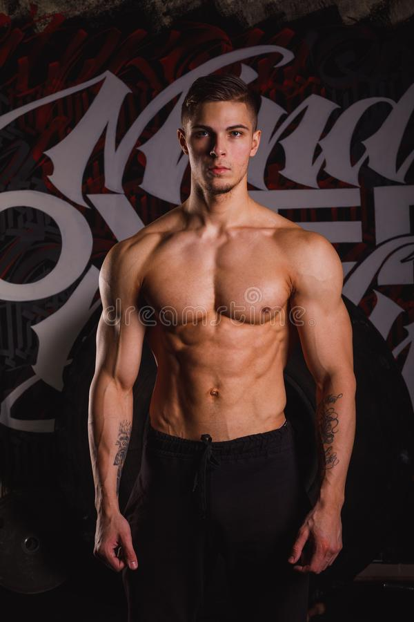 A guy brunette, with a bare, inflated torso, with serious eyes poses standing up. stock photo