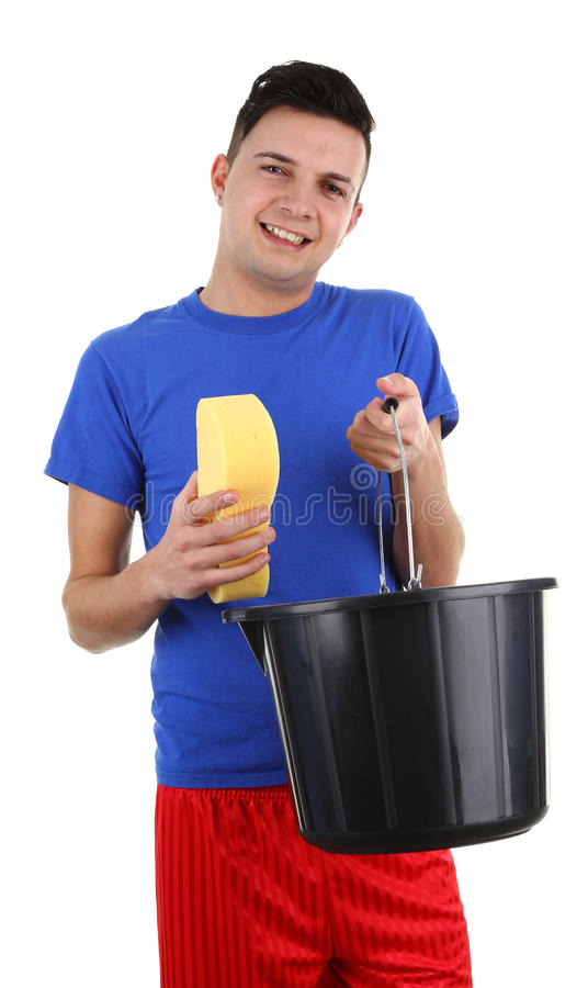 Guy with a bucket stock image