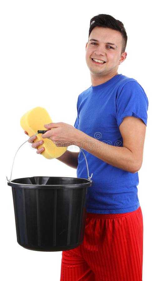A guy with a bucket and a sponge stock photo