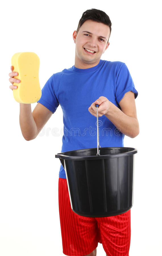 Guy with a bucket and sponge stock images
