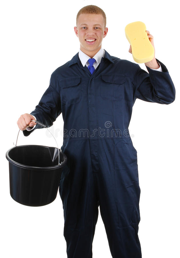 Guy with a bucket and a sponge stock images
