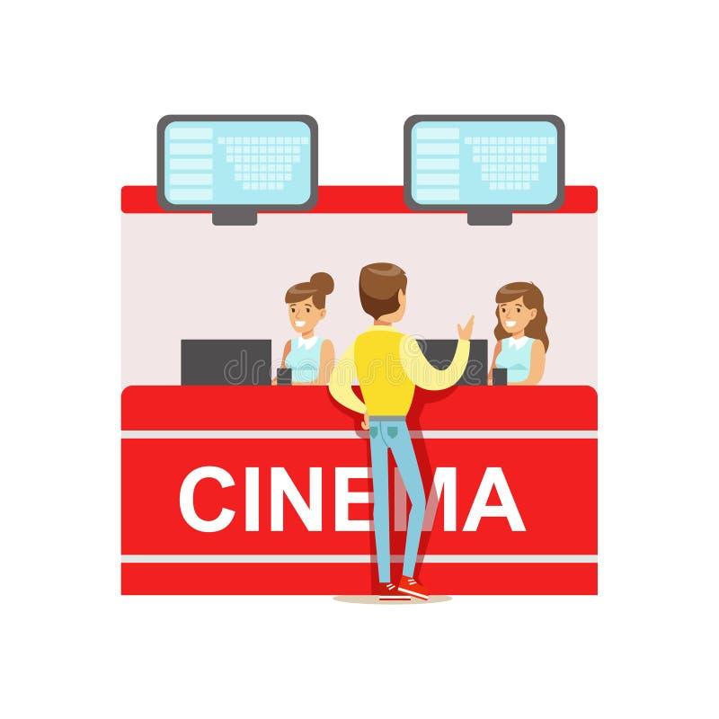 Guy Buying Cinema Tickets Whom kassörskor räknare, del av lyckligt folk i serier för filmteater royaltyfri illustrationer