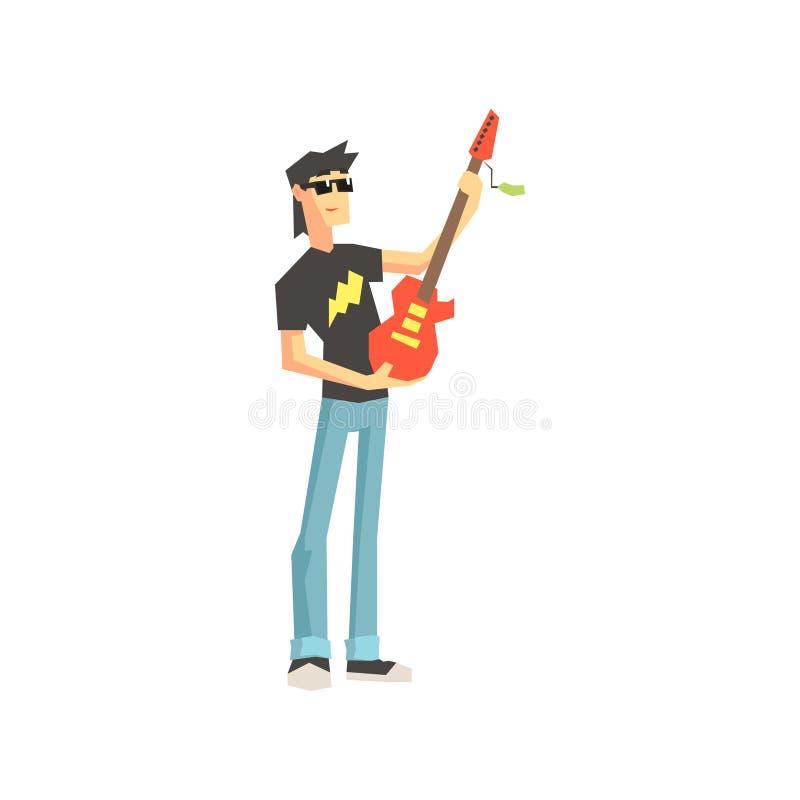 Guy Buying Electro Guitar vektor illustrationer