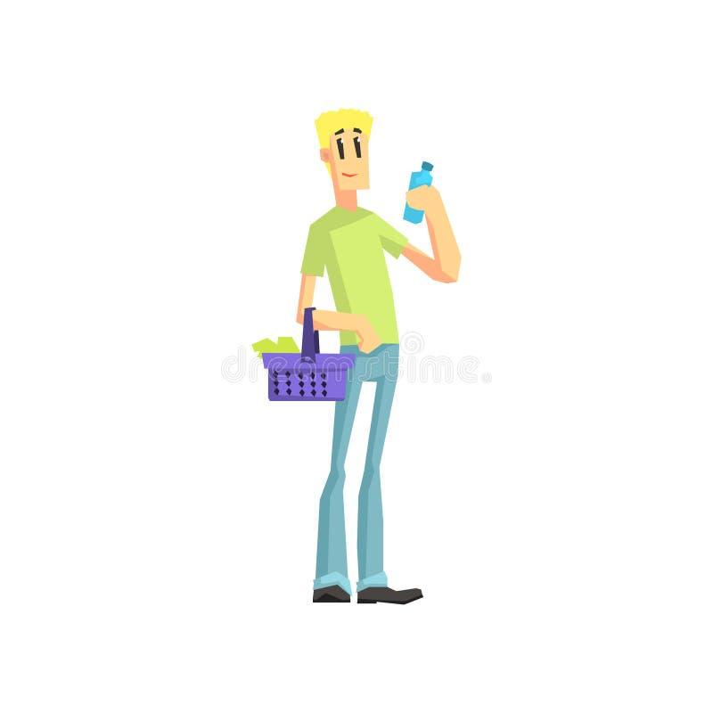 Guy Buying Household Chemistry royaltyfri illustrationer