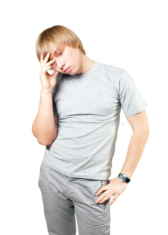 The guy can not solve the problem. White background stock image